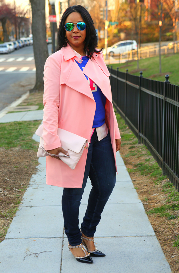 My Style: Varsity blues and pinks - Mural Open Front pink Trench Coat   Halogen® 'Letterman' Sweater in blue   J.Crew pink Silk blouse   Hudson Jeans (c/o)   Forever 21 Mirrored Aviators   Iacucci Clutch (c/o TJ Maxx)   Valentino 'Rockstud' Pump