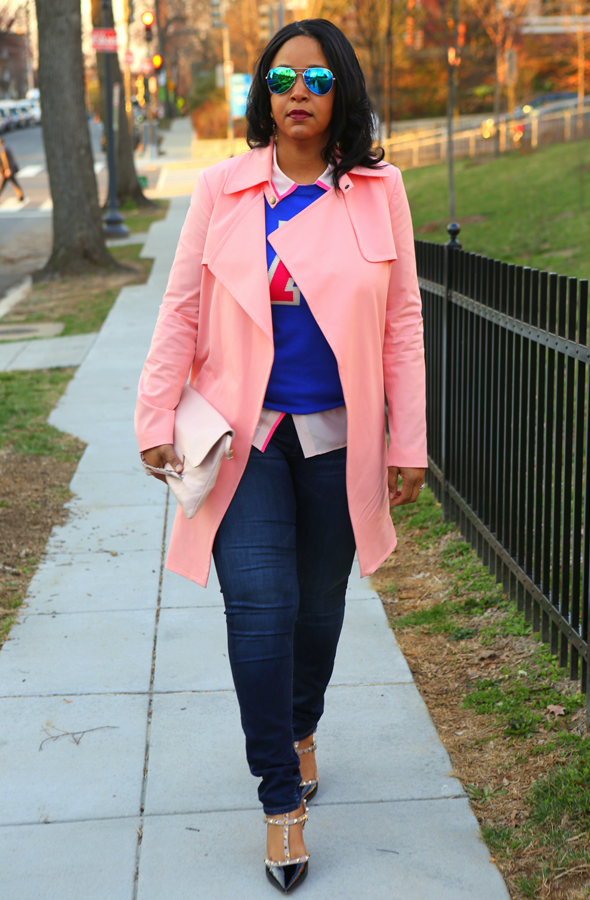 My Style: Varsity blues and pinks - Mural Open Front pink Trench Coat | Halogen® 'Letterman' Sweater in blue | J.Crew pink Silk blouse | Hudson Jeans (c/o) | Forever 21 Mirrored Aviators | Iacucci Clutch (c/o TJ Maxx) | Valentino 'Rockstud' Pump