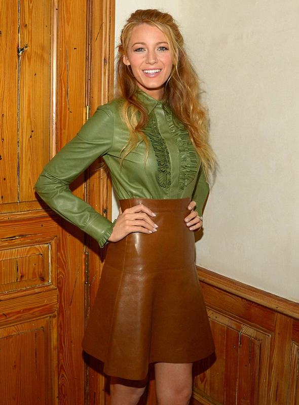 Blake Lively in Gucci leather ruffle shirt and skirt