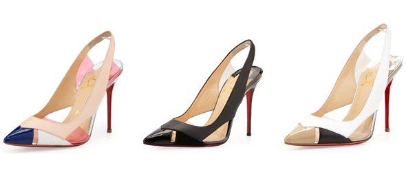 Christian Louboutin Air Chance Mixed Peekaboo Slingback Pump in Poudre, Black and White