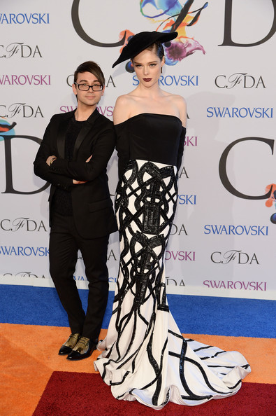 Christian Siriano and model Coco Rocha at the 2014 CFDA fashion awards