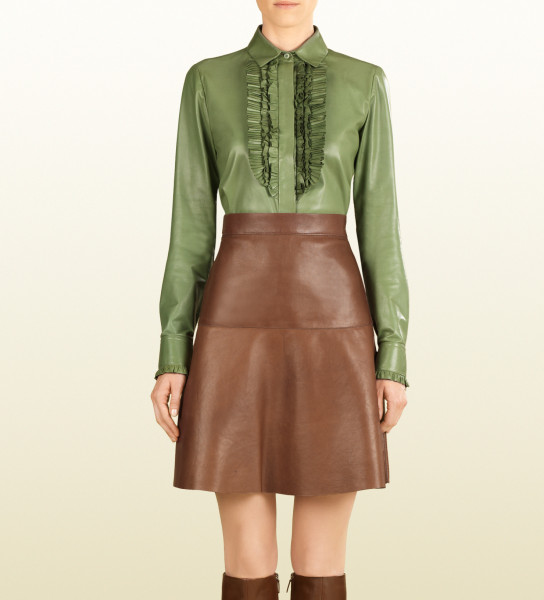 Gucci leather ruffle button down shirt
