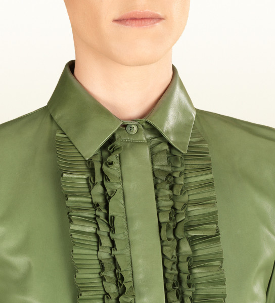 Gucci leather ruffle button down shirt closeup