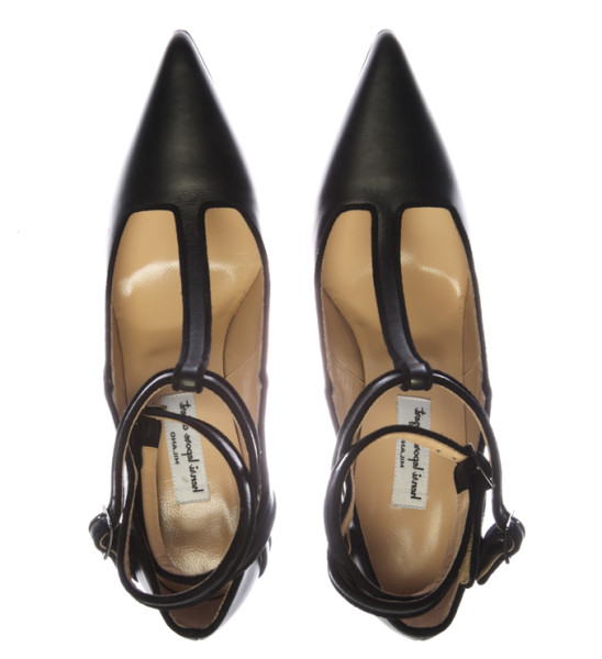 Henri Lepore Dezert Carmela Fall Winter 2014 black leather pointed heel with t-strap and ankle strap