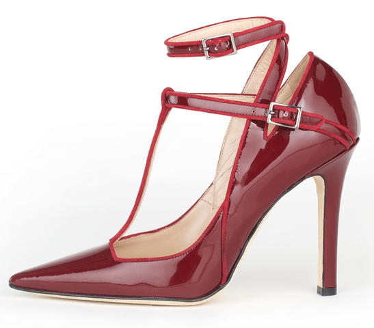 Henri Lepore Dezert Carmela Fall Winter 2014 burgundy leather pointed heel with t-strap and ankle strap