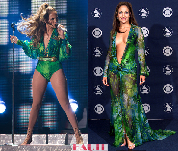 Jennifer Lopez performs in green bodysuit at Orchard Beach in the Bronx for her State Farm Neighborhood Sessions concert; green Versace Grammys dress