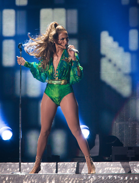 Jennifer Lopez performs in green bodysuit at Orchard Beach in the Bronx for her State Farm Neighborhood Sessions concert