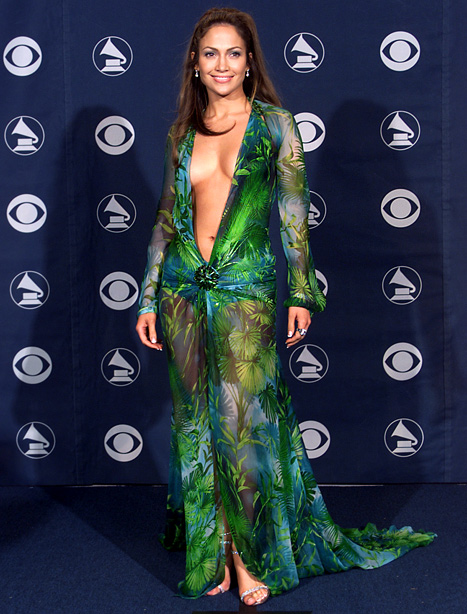 Jennifer Lopez Versace dress Grammy Awards