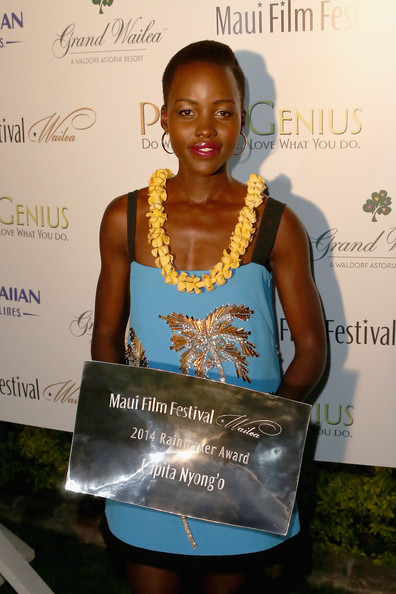 Lupita Nyong'o receives the 2014 Maui Film Festival Rainmaker Award at the 2014 Maui Film Festival in Wailea