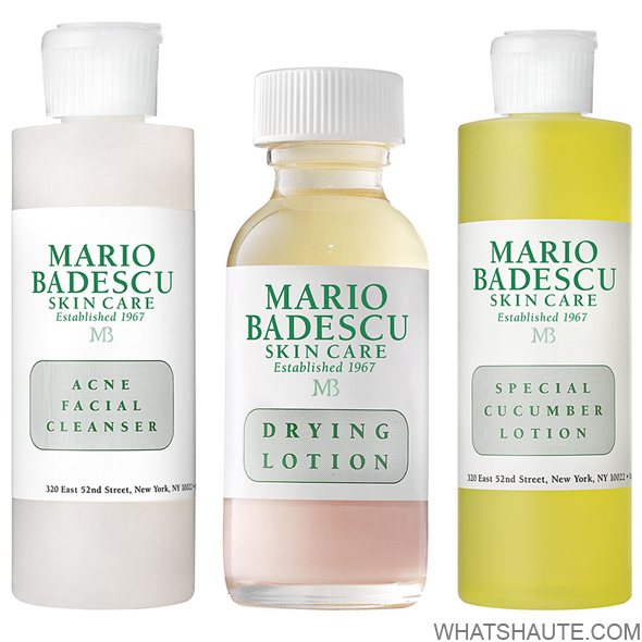 Mario Badescu Acne Facial Cleanser, Mario Badescu Drying Lotion, Mario Badescu Special Cucumber Lotion