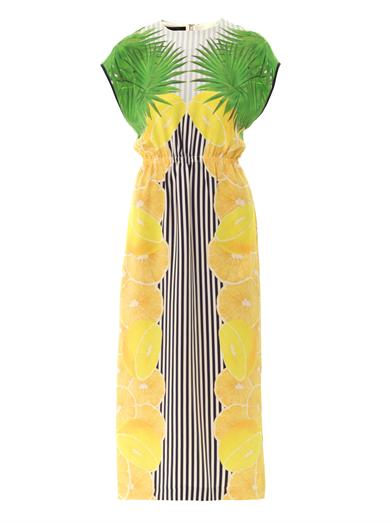 Mother of Pearl Kara lemon stripe-print dress