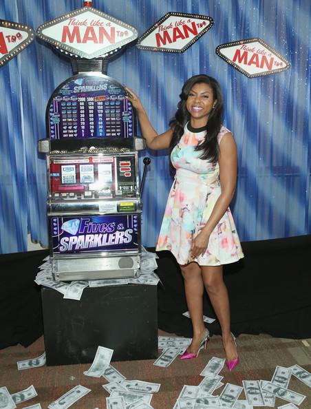 What she wore: Taraji P. Henson in Ted Baker Jeneyy Electric Day Dream Dress at the Press Junket Photo Call of Sony Pictures' Think Like A Man Too at the Beverly Hilton Hotel