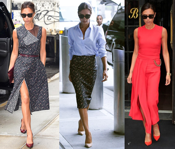 Victoria Beckham wears pre-Spring 2015 looks from her collection