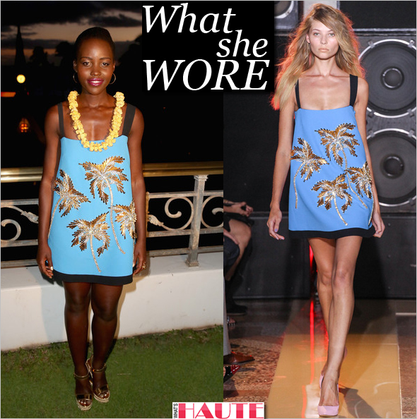 What she wore: Lupita Nyong'o in blue and gold Fausto Puglisi Spring/Summer 2014 palm tree dress receives the 2014 Maui Film Festival Rainmaker Award at the 2014 Maui Film Festival in Wailea