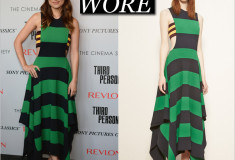 What She Wore: Olivia Wilde in a green and blue striped Stella McCartney dress (look 20 from the Resort 2015 collection)