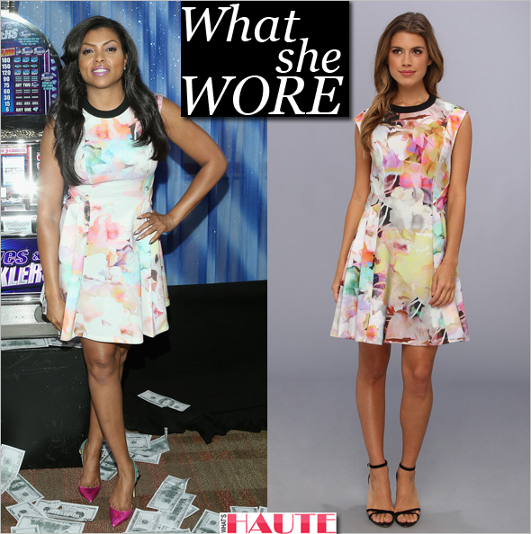 What she wore: Taraji P. Henson wears a Ted Baker Jeneyy Electric Day Dream Dress at the Press Junket Photo Call of Sony Pictures' Think Like A Man Too at the Beverly Hilton Hotel