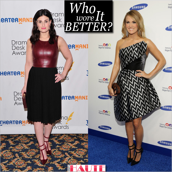 Who Wore these Henri Lepore Dezert 'Carmela' pumps better: Idina Menzel or Carrie Underwood?