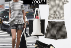 Olivia Palermo - Get her haute look: Zara Checked Top, Zara Checked Shorts, Graf & Lantz City tote black/white, Alexander McQueen Floral-Embroidered Suede Smoking Slippers