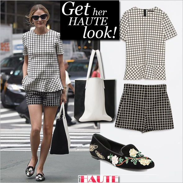 Olivia Palermo's chic, checked look is under $150!: Zara Checked Top, Zara Checked Shorts, Graf & Lantz City tote black/white, Alexander McQueen Floral-Embroidered Suede Smoking Slippers