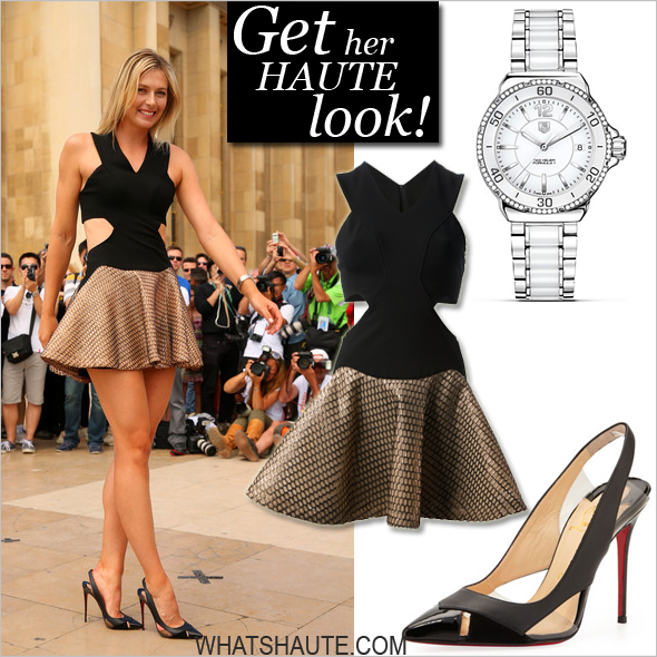 Get her haute look: Maria Sharapova celebrates her French Open win in Jay Ahr and Christian Louboutin; Jay Ahr two-tone dress, Christian Louboutin Air Chance Peekaboo Slingback Red Sole Pumps; TAG Heuer Formula 1 Steel and Ceramic Watch