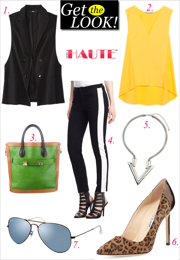 Get the look: Mossimo® Womens Collared Vest, Zara V-Neck Top, Proenza Schouler PS11 Tote, Kenneth Cole New York Jane Tuxedo Stripe Pants, Topshop Arrow Point Necklace, Manolo Blahnik BB Suede Point-Toe Pump, Leopard, Ray-Ban Aviator Flash Lenses