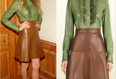 Haute or Not: Blake Lively in Gucci leather ruffle shirt and skirt