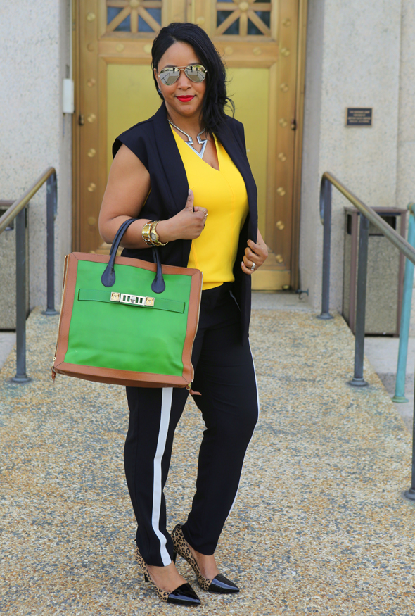 My Style: Kill Bill - AQUASWISS Unisex James Mirrored Aviators | H&M Sleeveless Tuxedo Vest | Zara V-Neck Top | Forever 21 silver Arrow Necklace | ASOS Tuxedo Stripe Track Pants | Audrey Brooke Leopard and Patent Cap Toe Pumps | Proenza Schouler PS11 Tote in green, camel and black