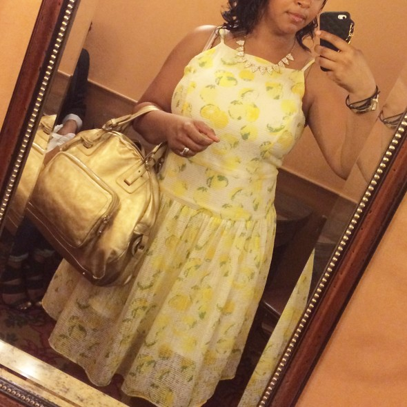 Me wearing the Ann Taylor Lemon Drop Sundress