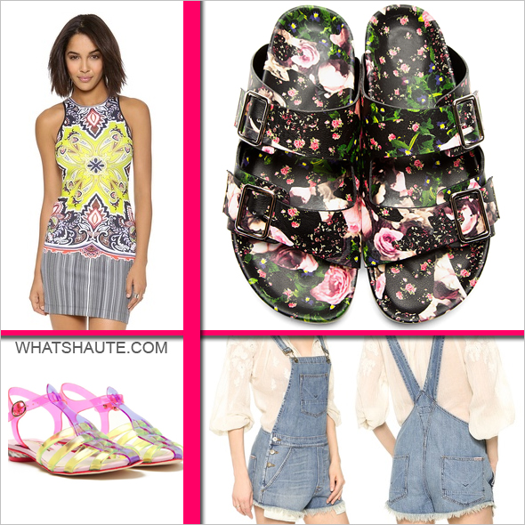Four throwback trends that are making a comeback right now - Givenchy Black Leather Floral Print Slip-On Sandals - Birkenstocks, Clover Canyon Havana Paisley Dress, Sophia Webster 'Violeta' jelly sandals, Hudson Florence Shortalls - Denim overalls