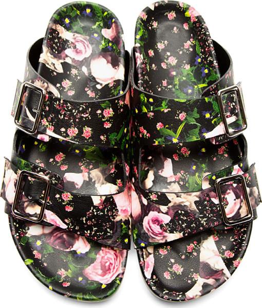 Givenchy Black Leather Floral Print Slip-On Sandals - Birkenstocks - throwback trends