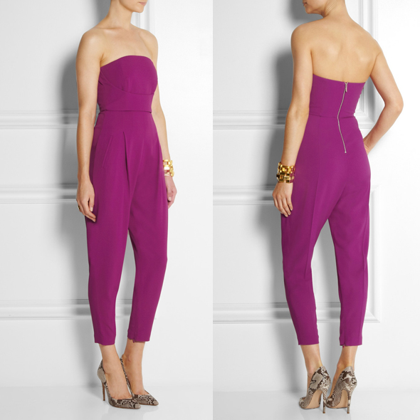Matthew Williamson Stretch Crepe Jumpsuit in magenta - as seen on Beyonce