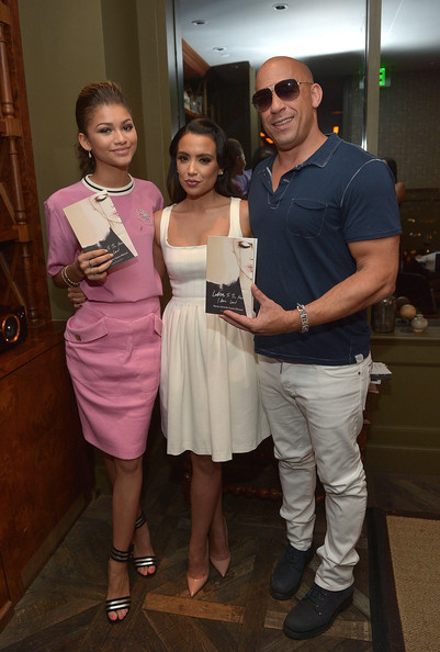 Zendaya, author Mirtha Michelle Castro Marmol and Vin Diesel attend the 'Letters To The Men I Have Loved' Book Launch Dinner Hosted By Samsung Galaxy