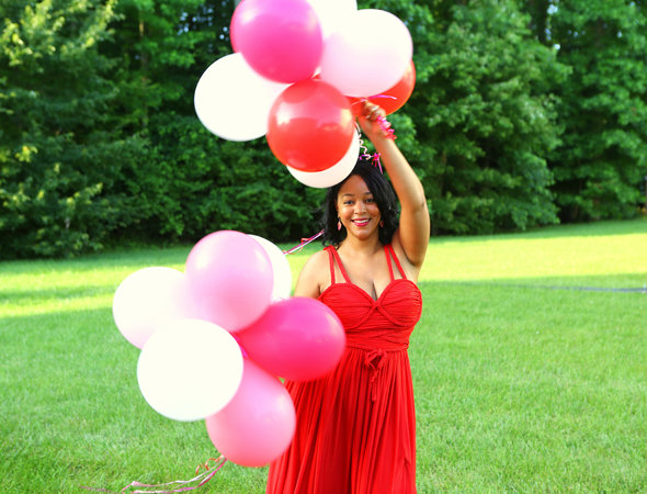 My Style: Thirty-something forever - What I'm Wearing: Opulence England Braid-embellished red satin-jersey dress | French Connection Katrin sandals | Rue Gembon Jade Trio - birthday balloon pics