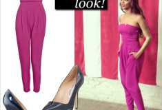 Get her haute look: Beyonce in a Matthew Williamson Stretch Crepe Jumpsuit in magenta and Manolo Blahnik BB Shimmer Patent 105 Navy Pumps