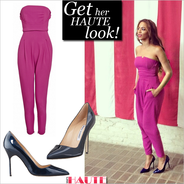 Get her haute look: Beyonce in Matthew Williamson Stretch Crepe Jumpsuit in magenta and  Manolo Blahnik BB Shimmer Patent 105 Navy Pumps