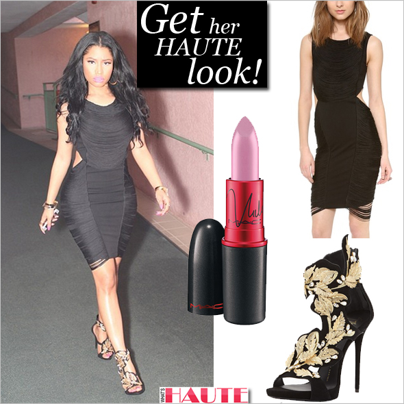 Get her haute look: Nicki Minaj in Haute Hippie Fringe Mini Dress, Giuseppe Zanotti Suede & Crystal Leaf Sandals, Nero and MAC Viva Glam Nicki 2 Lipstick