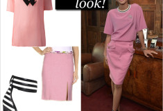 Get the look: Zendaya in pink Emanuel Ungaro top and skirt & Saint Laurent Paloma Sandals