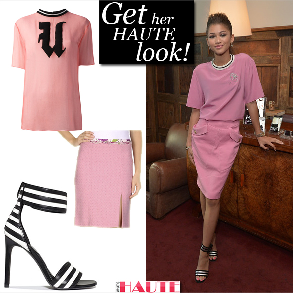 Get the look: Zendaya in Emanuel Ungaro pink top and skirt & Saint Laurent Paloma Sandals