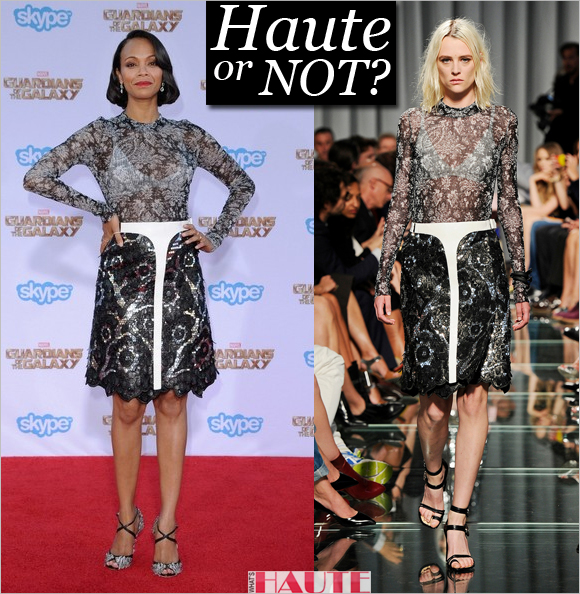Haute or not: Zoe Saldana in Louis Vuitton Resort 2015 black and silver lace dress, Celebrity style