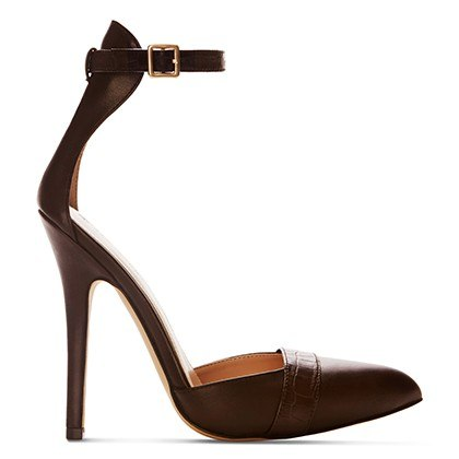 ANKLE STRAP SHOE IN DARK BROWN, $39.99