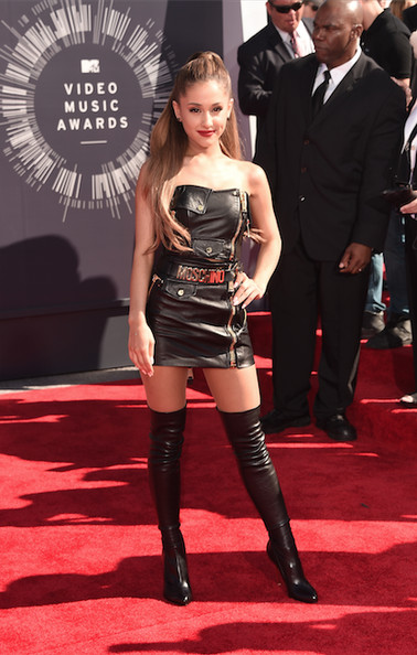 Ariana Grande wore a leather Moschino dress and Tom Ford over-the-knee boots