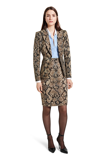 BLAZER IN PYTHON PRINT, $49.99, DRESS IN BANKER STRIPE PYTHON PRINT, $49.99, ANKLE STRAP SHOE IN BLACK, $39.99