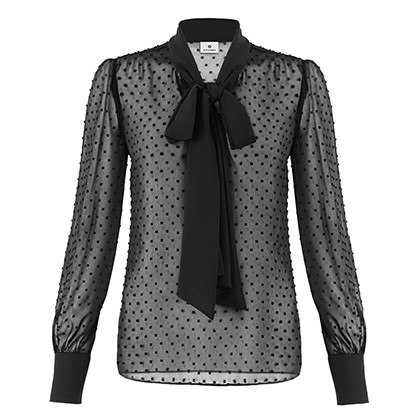BOW BLOUSE IN BLACK SWISS DOT, $34.99