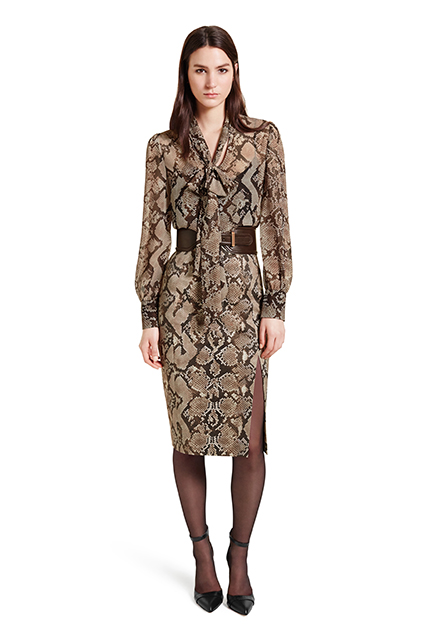 BOW BLOUSE IN PYTHON PRINT, $34.99; PENCIL SKIRT IN PYTHON PRINT, $34.99; CROC EFFECT BELT IN BROWN, $29.99; ANKLE STRAP SHOE IN BLACK, $39.99