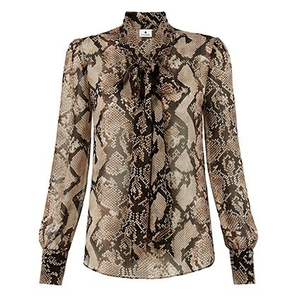 BOW BLOUSE IN PYTHON PRINT, $34.99