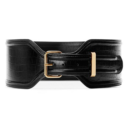 CROC EFFECT BELT IN BLACK, $29.99