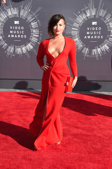 Demi Lovato in a red Lanvin gown