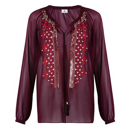 EMBROIDERED BLOUSE IN RED, $44.99