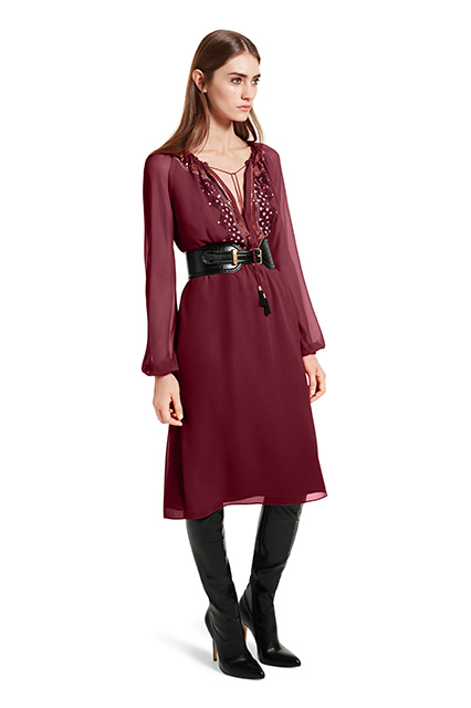 EMBROIDERED DRESS IN RED, $54.99; CROC EFFECT BELT IN BLACK, $29.99; OVER-THE-KNEE BOOT IN BLACK, $79.99