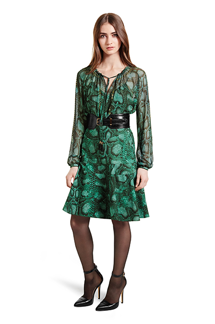 EMBROIDERED PEASANT BLOUSE IN GREEN PYTHON PRINT, $44.99; FLOUNCE SKIRT IN GREEN PYTHON PRINT, $34.99; CROC EFFECT BELT IN BLACK, $29.99; ANKLE STRAP SHOE IN BLACK, $39.99
